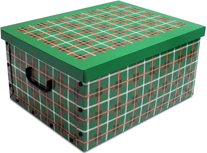Tartan Karton Aufbewahrungsboxen mit Deckel Home Office Schule Raum f/ür Spielzeug Aufbewahrungsbox Truhe Trunk Cream Tartan