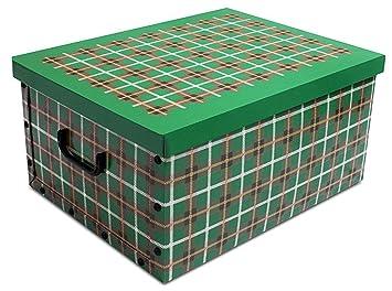 Cajas de almacenamiento de cartón de tartán, con tapa, para
