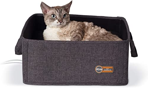 K H Pet Products Thermo-Basket Indoor Heated Cat Bed, Foldable, 15in x 15in, 4W