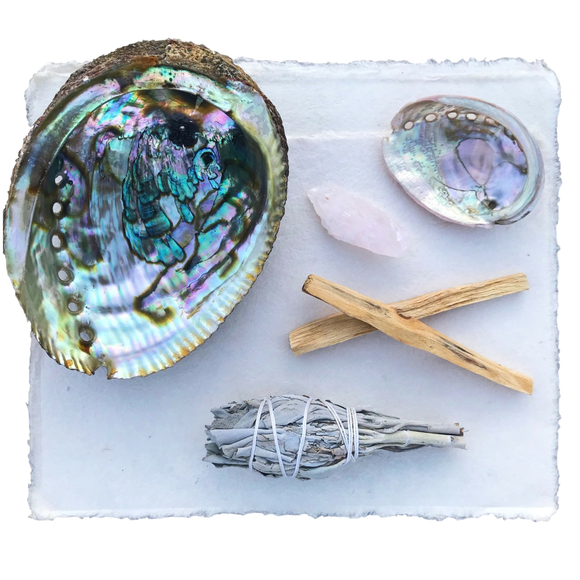 Maha Living Smudging Kit w/Abalone Shell (Large), Palo Santo, White Sage Smudge Stick, Rose Quartz Healing Crystal Plus How to Guide for Cleansing Your Home (Abalone Shell)