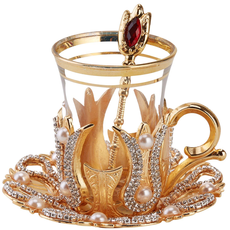 6 Türkische Teegläser mit Untersetzer, Halterungen und Löffel, verziert mit Kristallen und Kunstperlen, Goldfarben, 24-teiliges Set