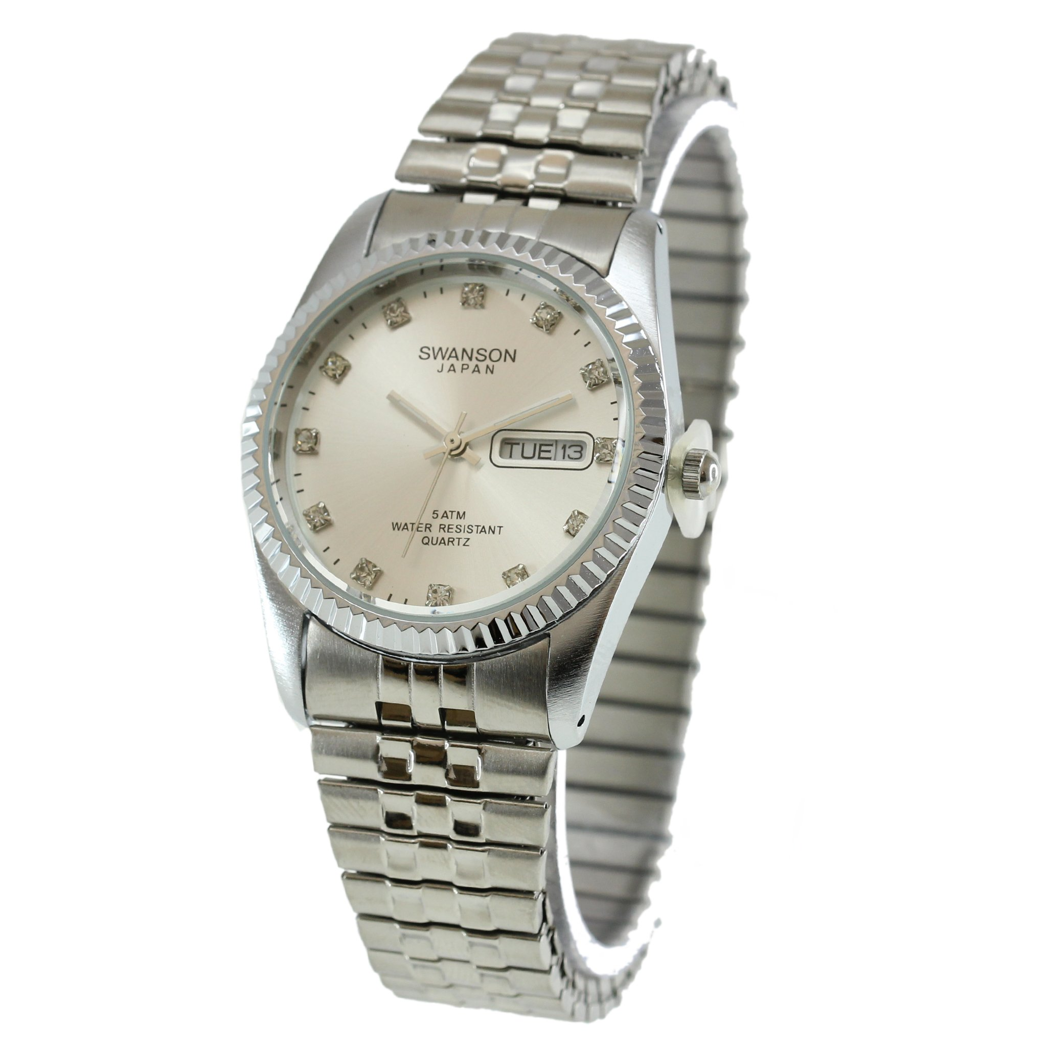 Swanson Japan Men's Silver Expansion Band Day-Date Smooth Silver Stone Dial Watch with Travel Case