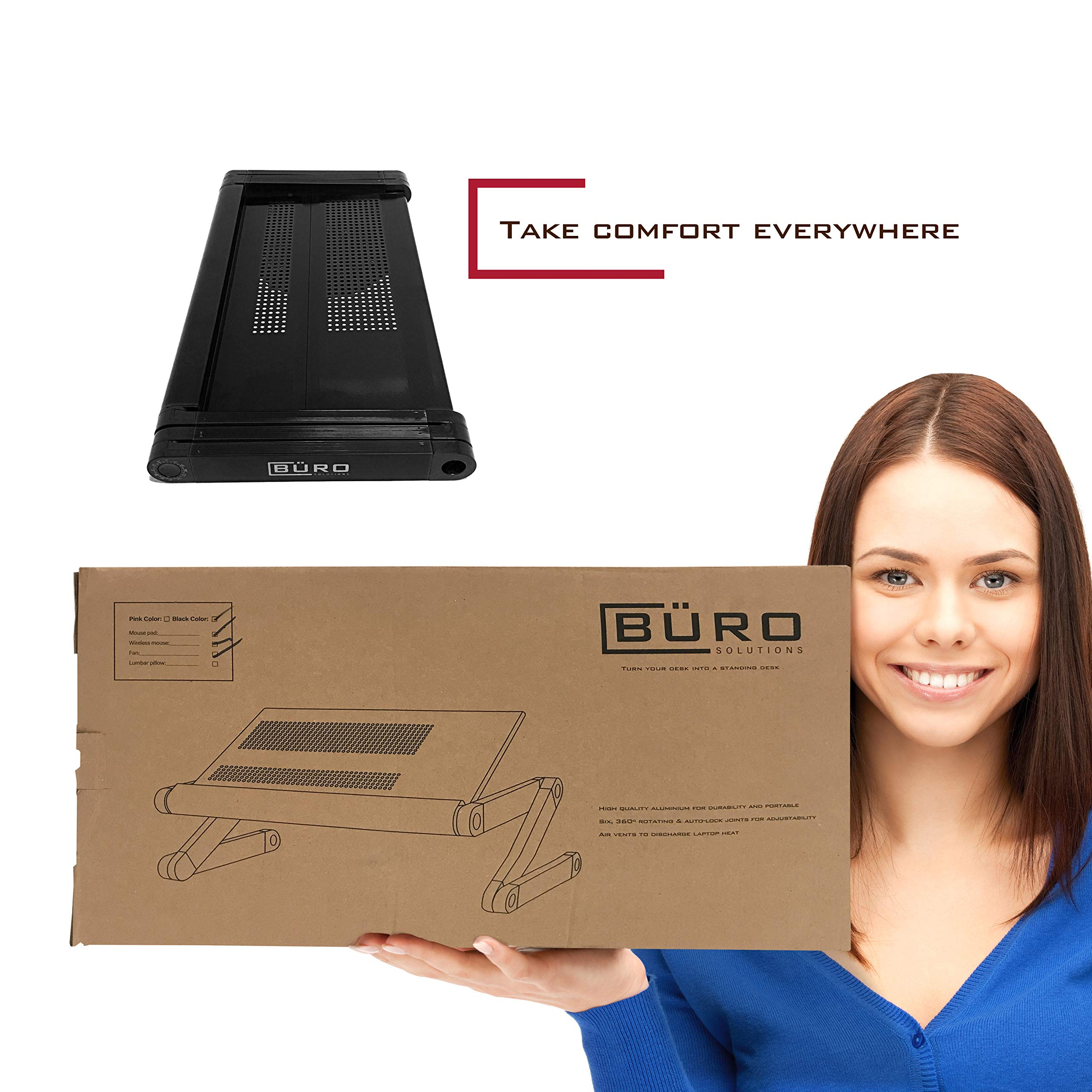 Height Laptop Holder is Adjustable for Desk Or Bed with Mouse and Mouse-pad | Black Color | Laptop Table Top with Vented Stand for Cooling | Comes with Side Tray for Mouse by Büro Solutions (Image #4)