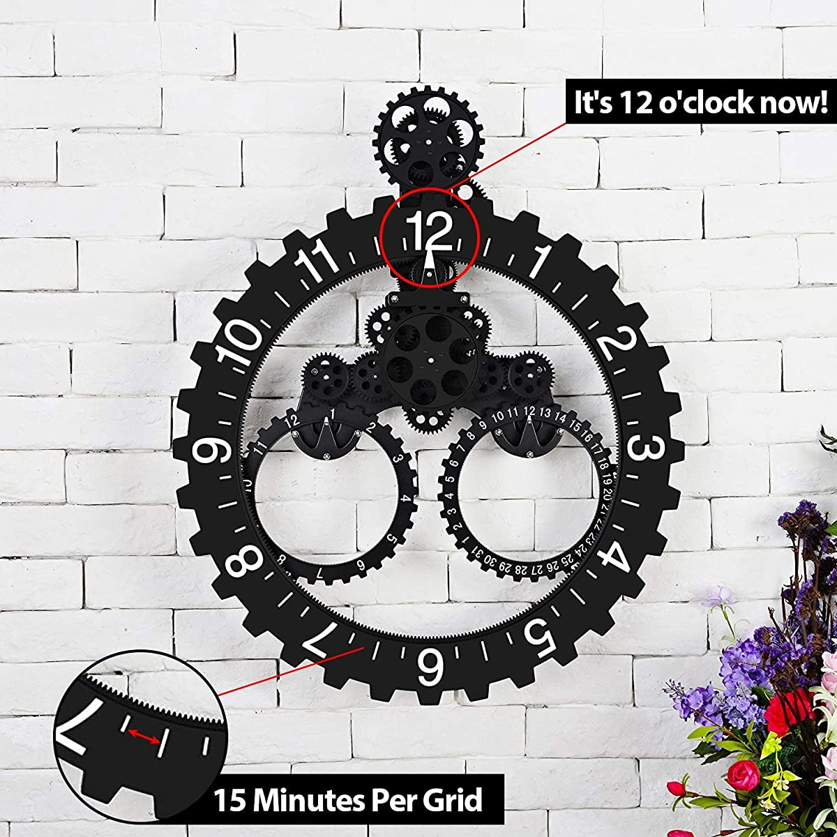 "SevenUp Gear Clock Wall-Premium Plastic and Metal Parts Material, Best 3D Moving Gear Clock Wall, 26"" x 22"", A Fine Artwork, Perfect for Living Room, Reading Room, Restaurant, Office Decor (Black)"