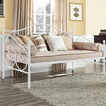 Amazon.com: Marco de cama doble de metal, plataforma de cama ...