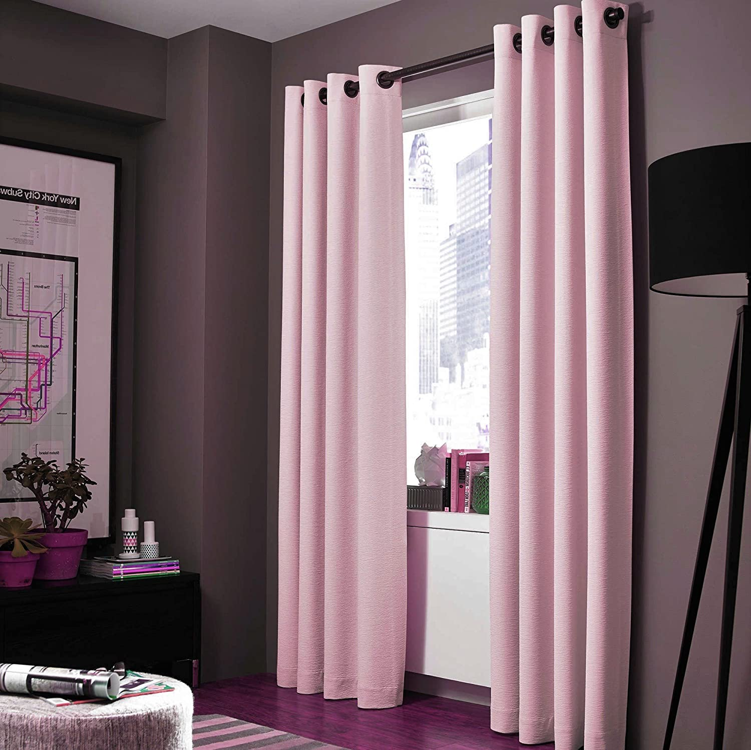 """Gorgeous Home Linen (NOA) 1 Solid Panel 100% Room Darkening Insulated Thermal Lined Blackout Window Grommets Curtain (84"""" Length, Light Pink)"""