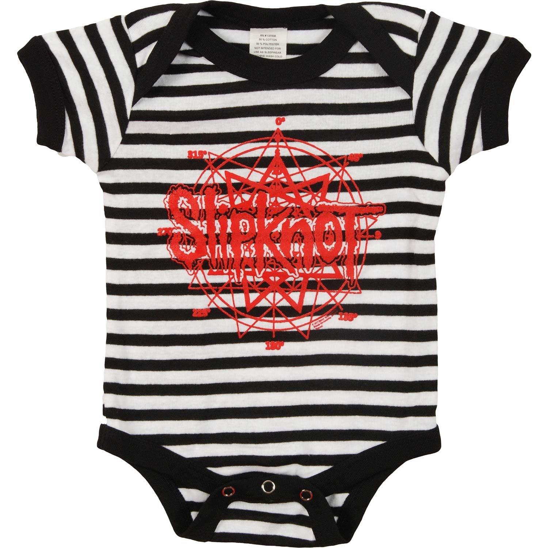 3677fe390bec Amazon.com  Slipknot Red Logo Black and White Striped Baby Romper ...