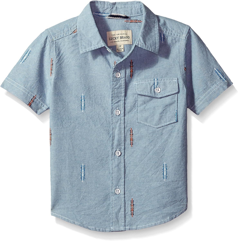 Lucky Brand Baby Boys Short Sleeve Chambray Button Down Shirt