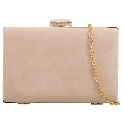 55a399e97 Purple Possum® Beige Clutch Bag Hard Compact Style Evening Bag Ladies Nude Faux  Suede Box