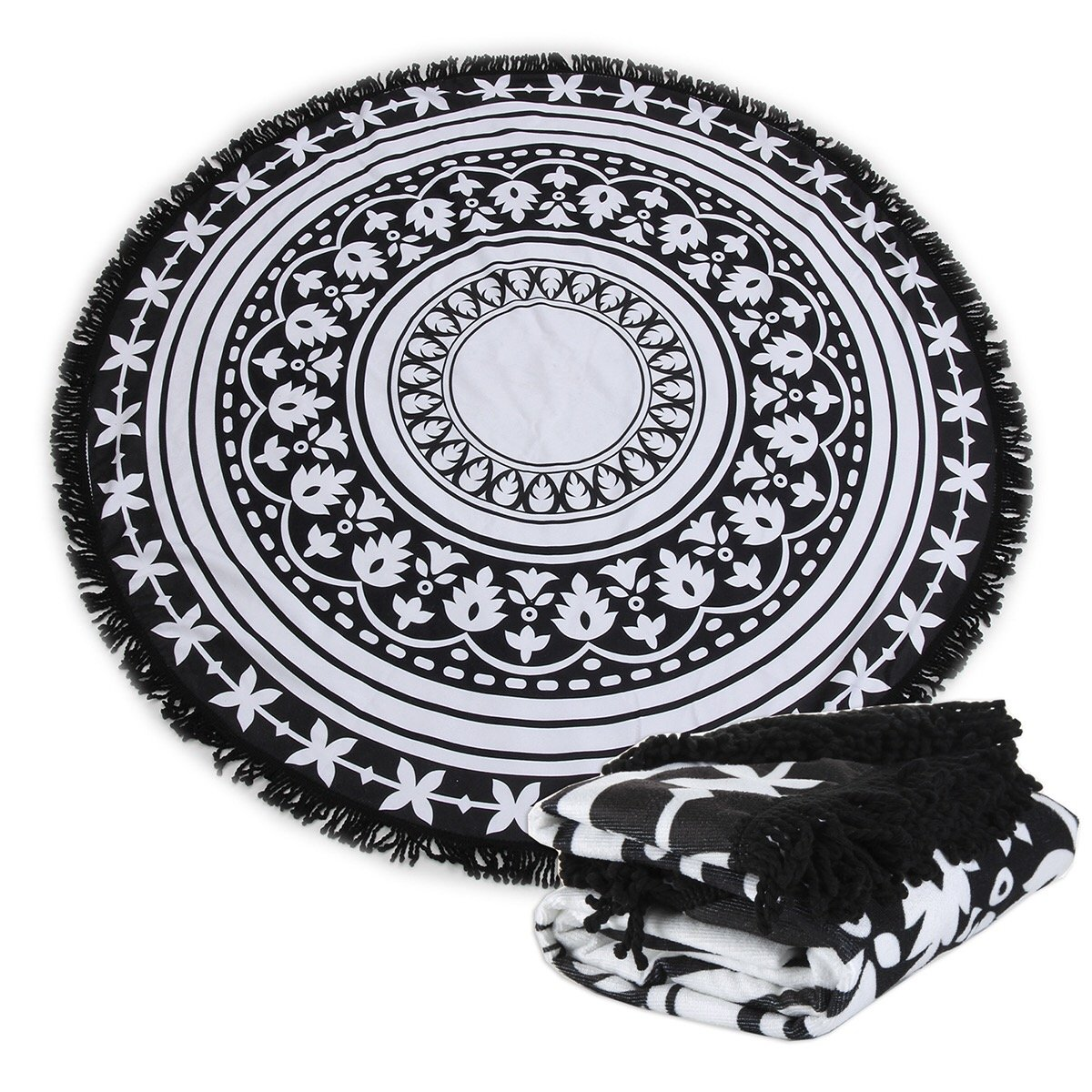 Polly House Large Round Beach Towel Blanket with Tassels Ultra Soft 59 inch Across Multifunctional Purposes Blanket, Picnic Blanket, Bed Cover, Wash Machine Easy wash (117 Black Mandala)