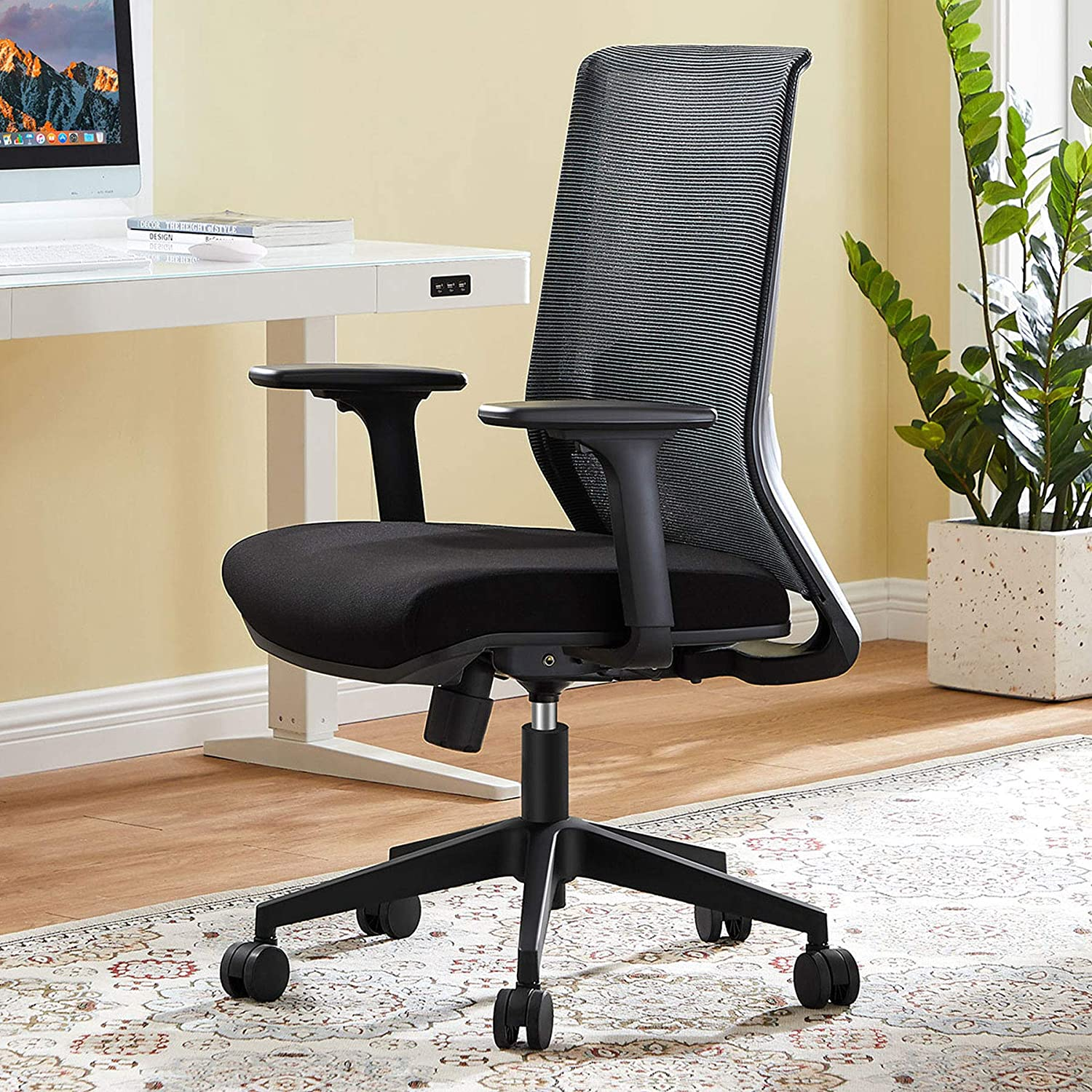 Ergonomic Office Chair, Big and Tall Home Office Desk Chair with 3D Armrest, Tribesigns Mid Back Mesh Computer Chair with Lumbar Support, Wide Seat and Rolling Swive for Women Men, Black