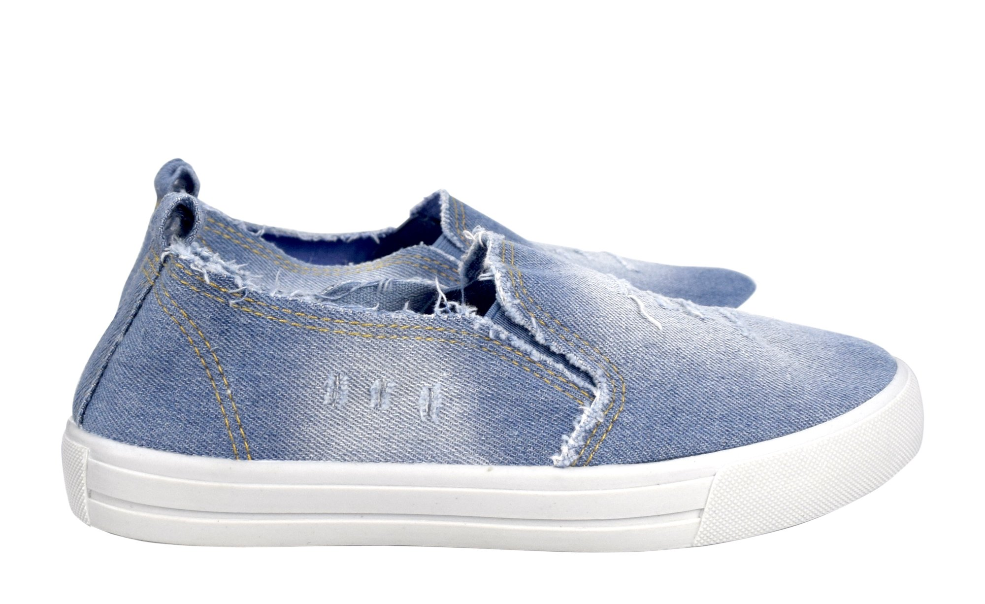 Peach Couture Womens Fashion Distressed Denim Casual Shoes Slip On Sneakers (L Blue 8)