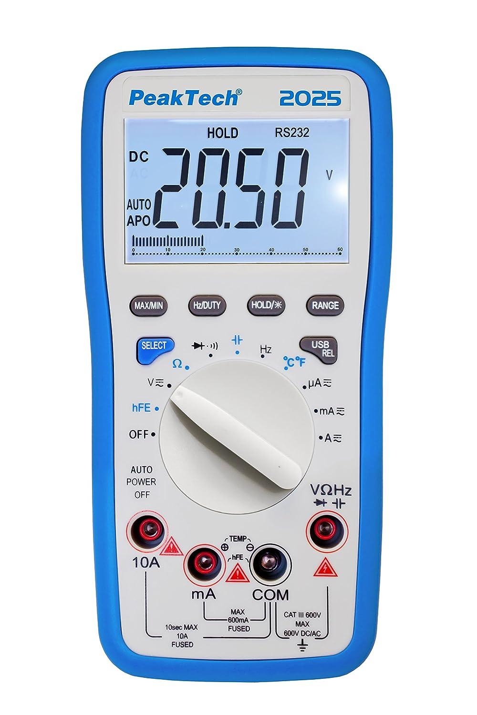 6000 conteggi Amperometro elettronico Resistenza Multimetro portatile Tensione CAT III 600 V PeakTech 2025 Tester di continuit/à Autorange Multimetro digitale con USB Display LCD