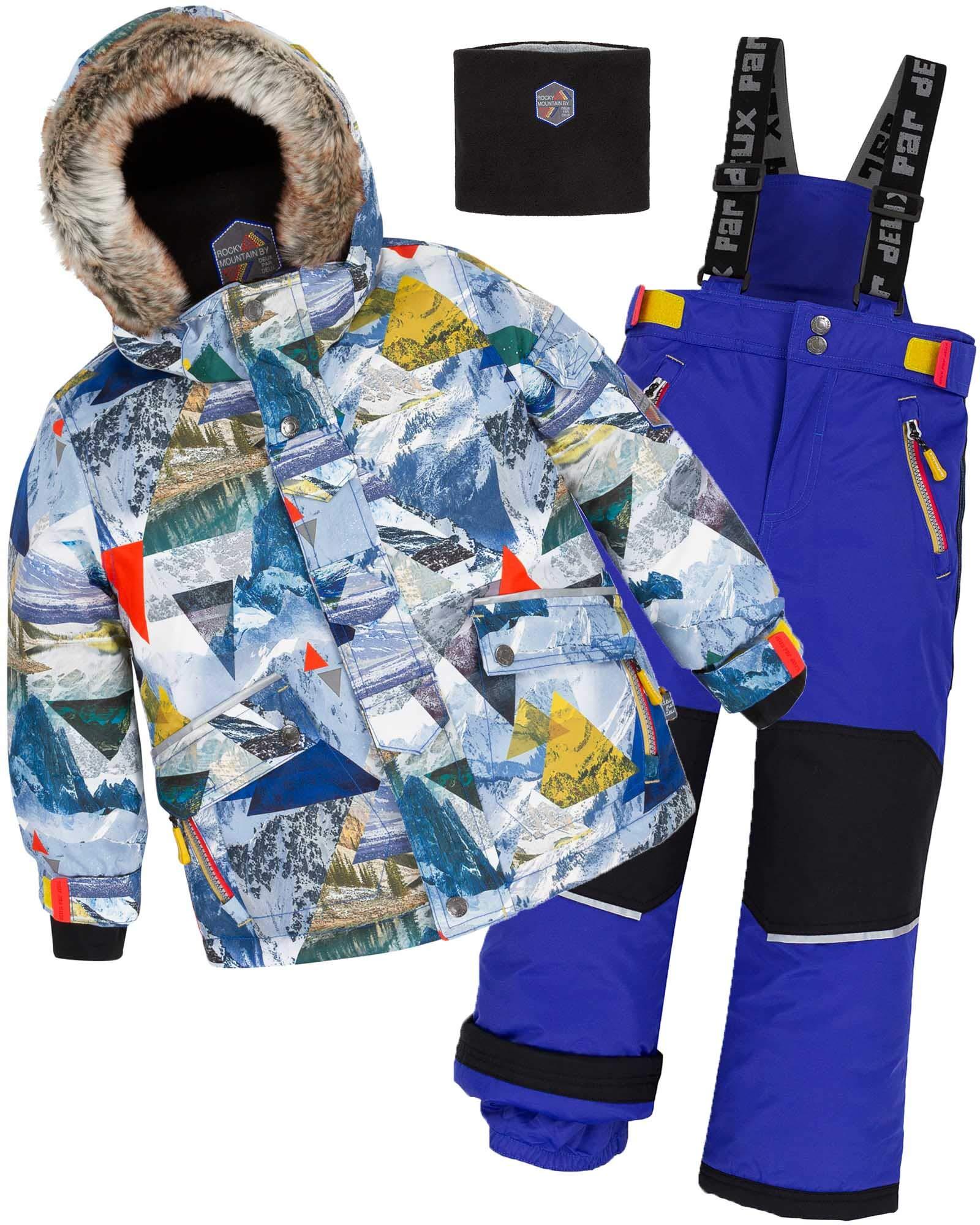 Deux par Deux Boys' 2-Piece Snowsuit Rock The Mountain Blue, Sizes 4-14 - 14
