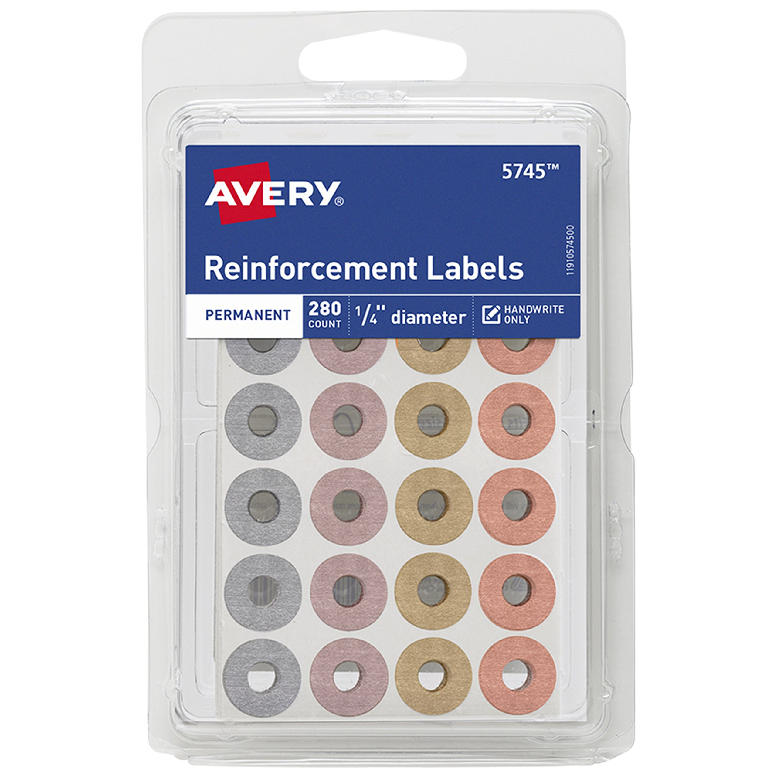 Avery Fashion Reinforcement Labels, Assorted Metallic Colors, 1/4'' Diameter, Pack of 280 (5745)