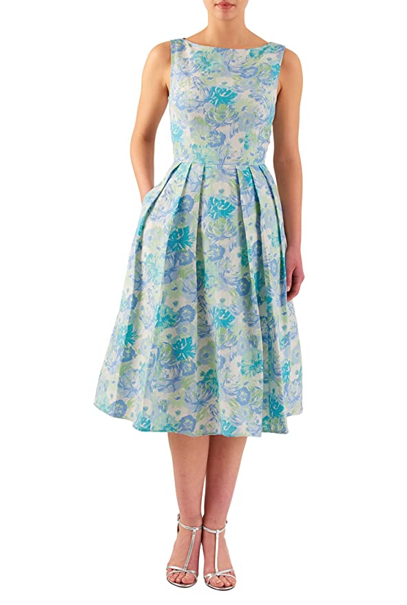1950s Day Dresses eShakti Womens Floral print linen midi dress $59.95 AT vintagedancer.com