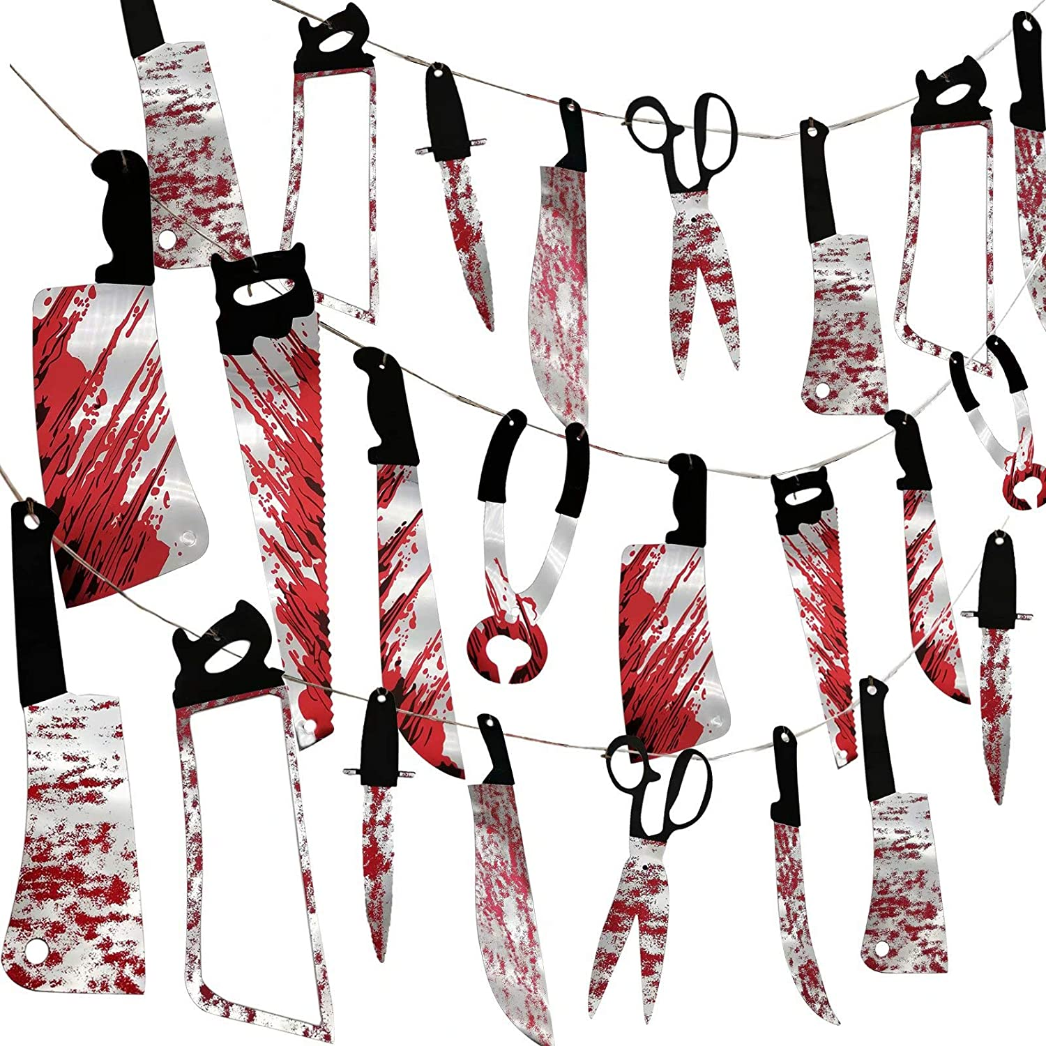 32PCS Halloween Bloody Garland Banner Props Halloween Decorations Halloween Zombie Vampire Party Decorations Supplies for Haunted House Bar Office Home Indoor Outdoor Yard Décor Weapons Hanging Banner