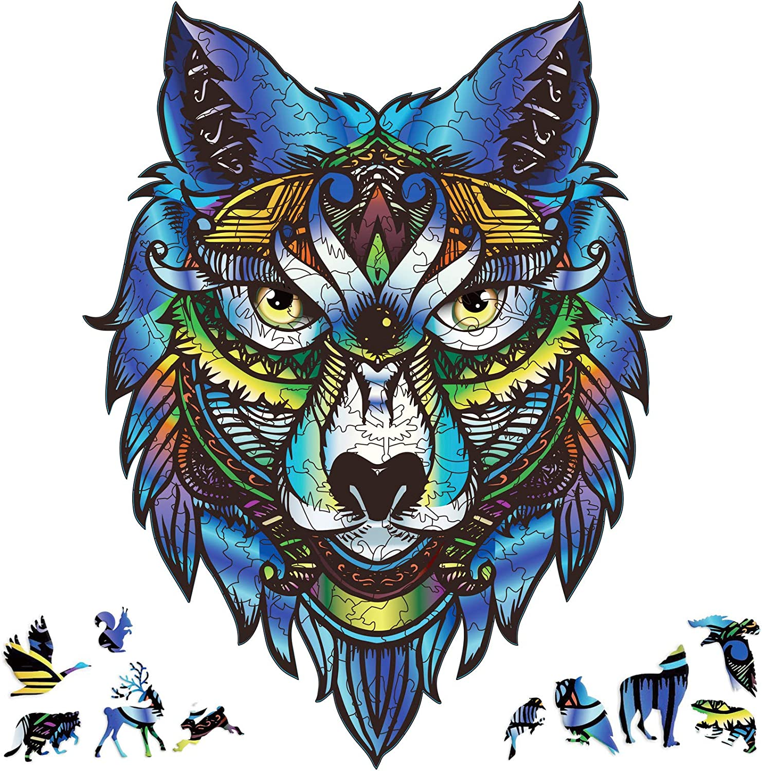 Majestic Wolf Wooden Puzzle Jigsaw Animal Mosaic Puzzle Gift For Holiday