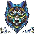 Wooden Jigsaw Puzzles, 203 Uniquely Shaped Animal-Shaped Puzzle Pieces, The Best Gift for Adults and Children, Majestic Wolf-Shaped Puzzle Family Game,Wooden Puzzles for Adults, 9x11.8 Inches,M