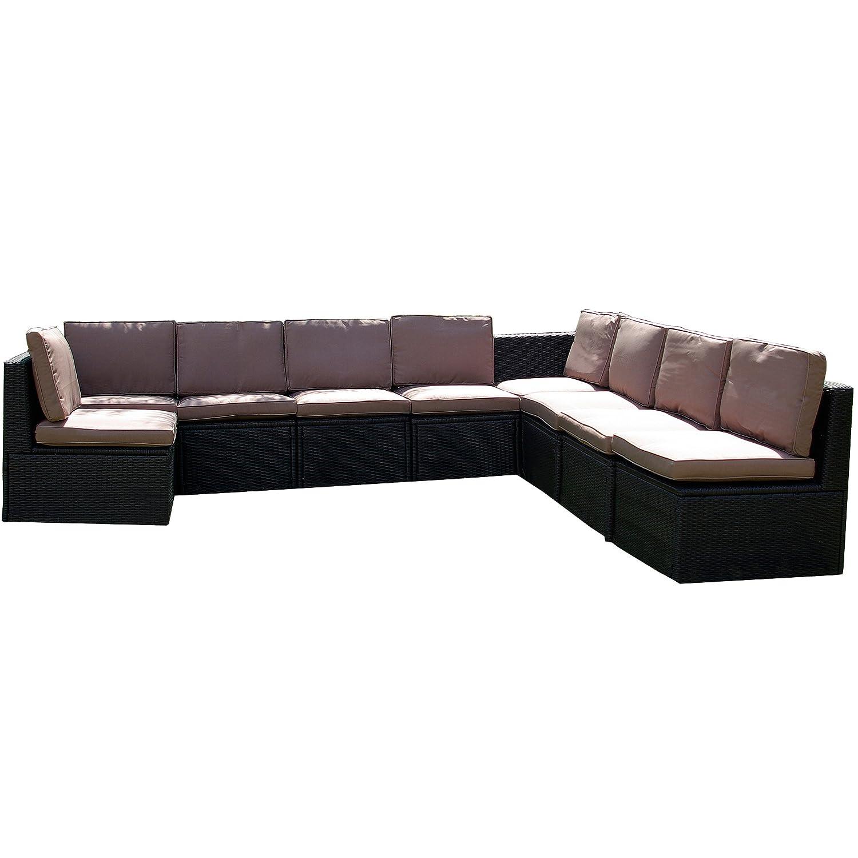 Nexos Edle Sitzgarnitur – Polster braun Poly Rattan schwarz – Stahlgestell – Sitzgruppe Gartenmöbel Rattan-Lounge massiv