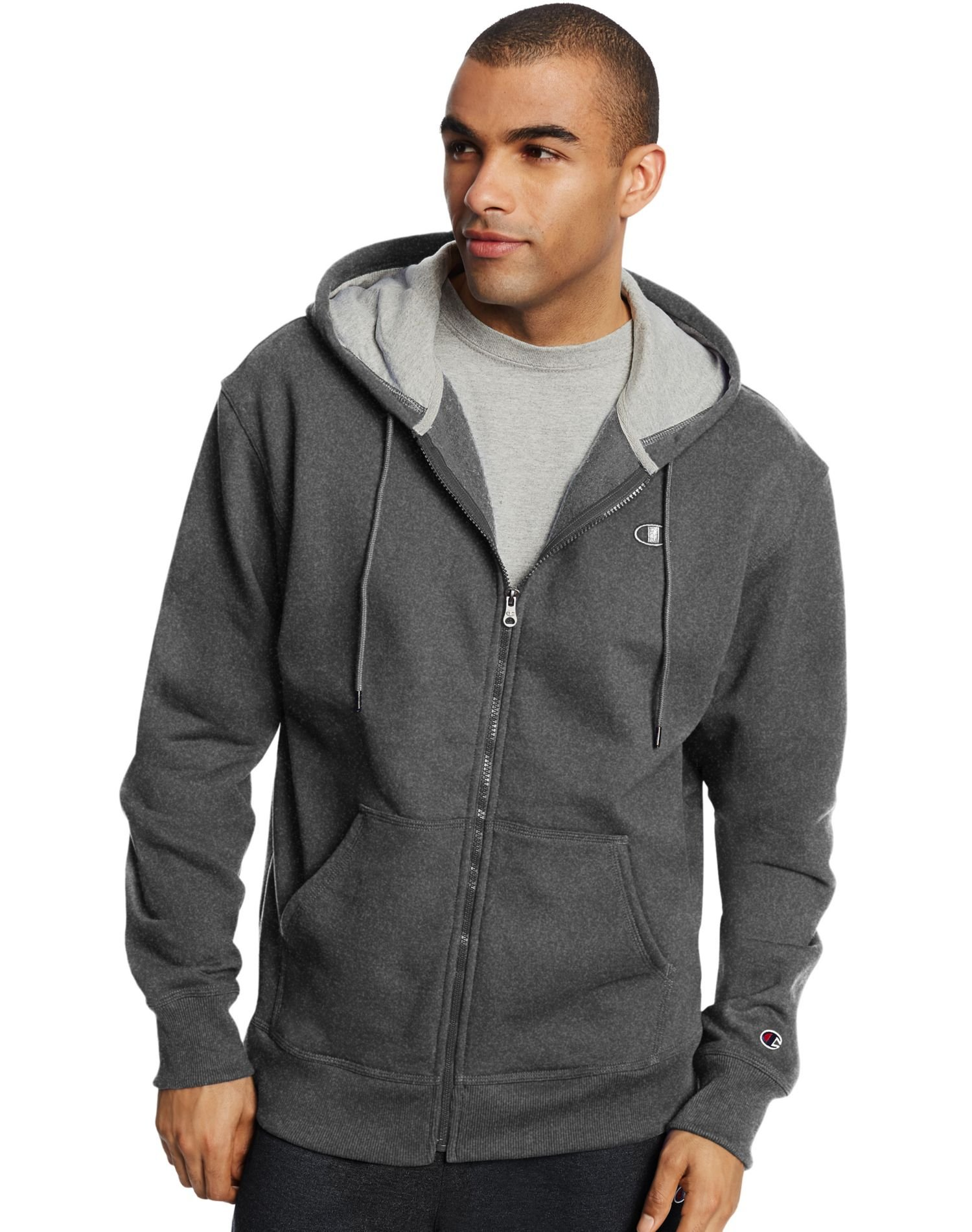 Champion Men`s Powerblend Fleece Full Zip Jacket, 4XL, Granite Heather