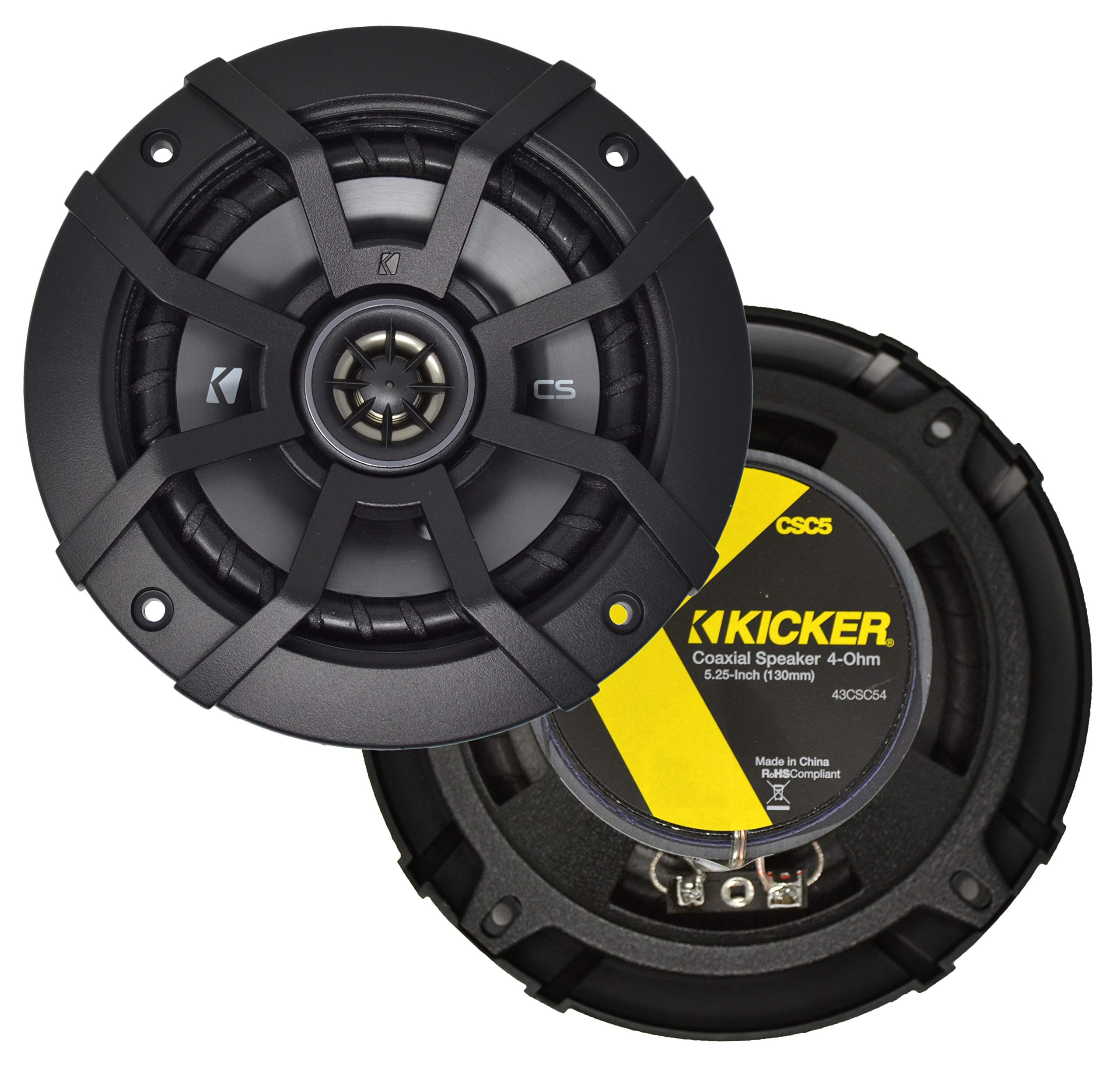 Kicker CSC5 5.25'' 225W 2 Way 4 Ohm Coaxial Car Audio Speakers, Pair | 43CSC54 by KICKER