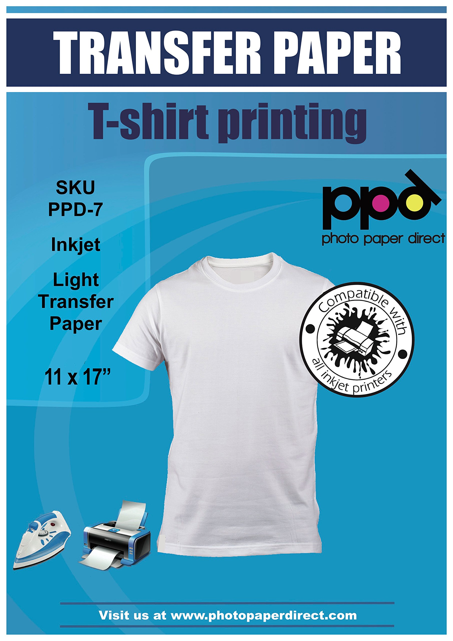 PPD Inkjet Iron-On Light T Shirt Transfer Paper 11 x 17'' Pack of 20 Sheets (PPD007-20) by PPD