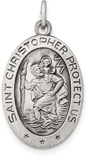 Sterling Silver Antiqued Saint Joseph Medal Solid 20 mm 25 mm Themed Pendants /& Charms Jewelry
