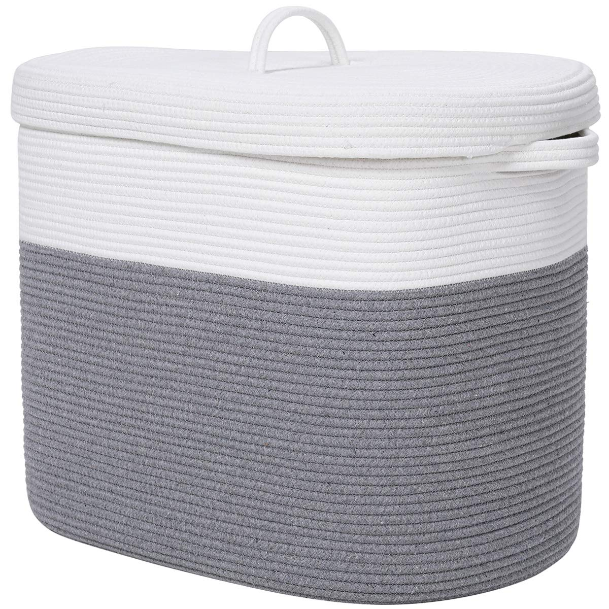 """22""""x14""""x18"""" Rectangular Extra Large Storage Basket with Lid, Cotton Rope Storage Baskets, Woven Laundry Hamper, Toy Storage Bin, for Toys Blanket in Living Room, Baby Nursery, Grey Rectangular Basket"""