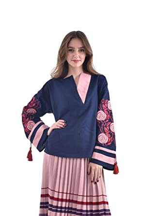 7a0c8721eb311c Embroidered Linen Shirt Woman. Vyshyvanka Spike. Ukrainian Embroidered  Blouse at Amazon Women's Clothing store:
