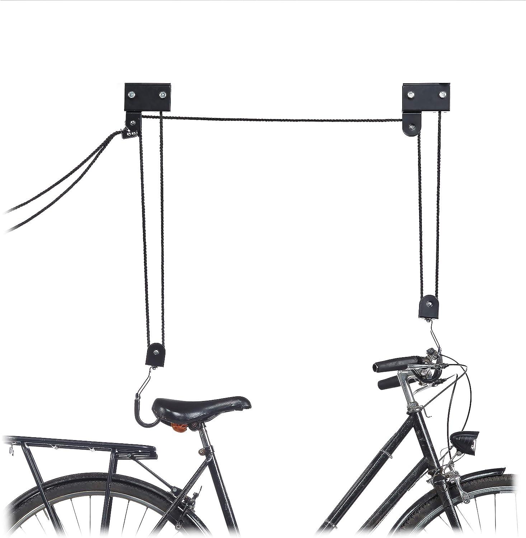 Relaxdays - Elevador de Techo para Bicicleta con Gancho y Freno de Cuerda, Cuerda, Kayak, Elevador de Bicicleta, Talla única