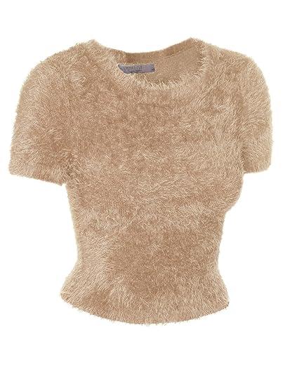 de37c941762fde Emmalise Fuzzy Eyelash Sweater Cute Short Crop Top Fashion Shirt for Women  - Camel