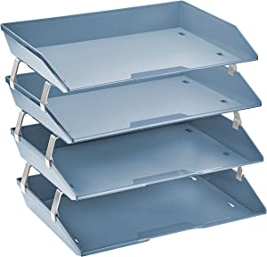 Acrimet Facility 4 Tier Letter Tray Side Load Plastic Desktop File Organizer (Solid Blue Color)