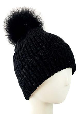 8927a3a43ad Fox Pom Knit Hat - Removable Pom Pom Fur Ski Style Hat - Warm Winter Fashion