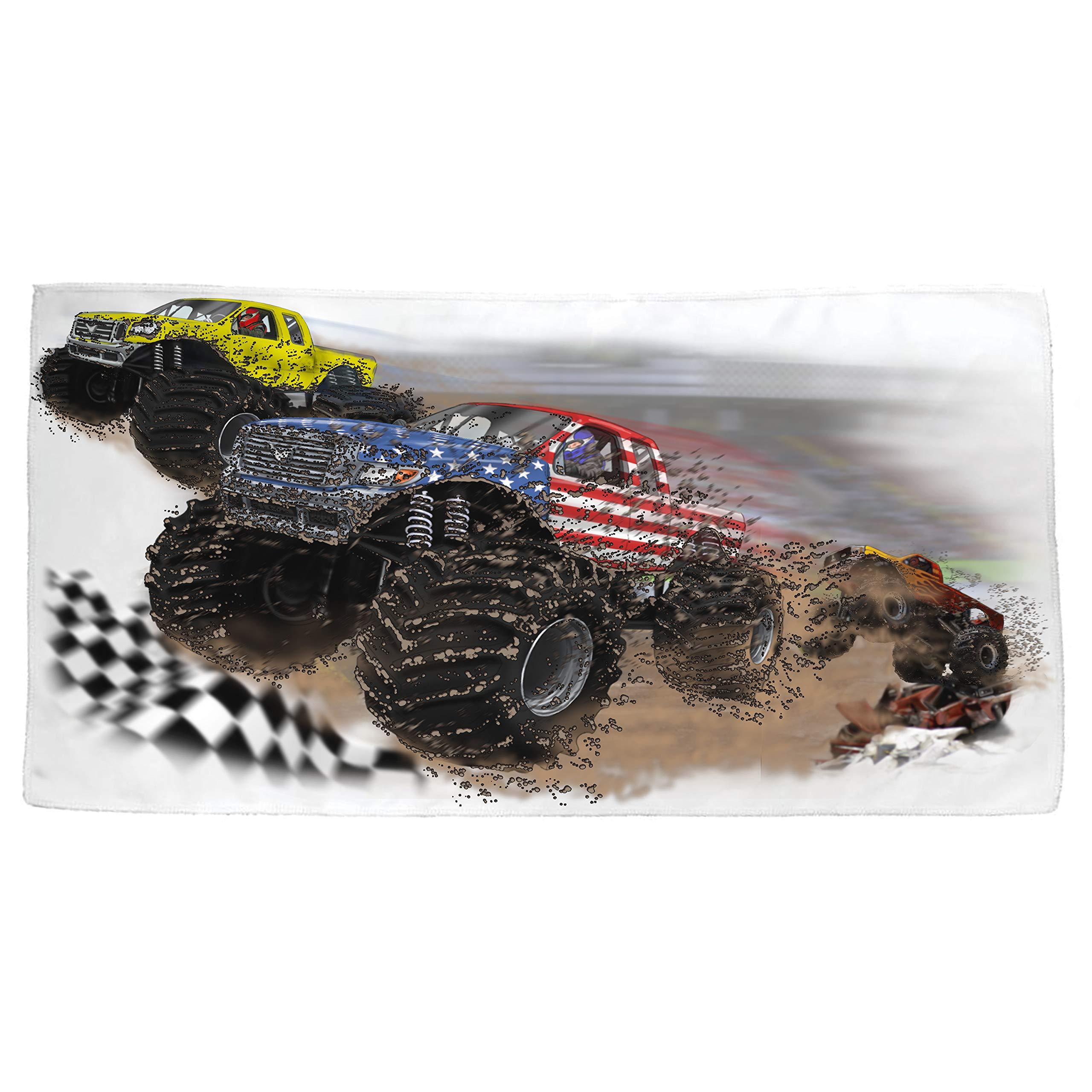 Shirts That Go Little Boys USA Monster Trucks Racing Bath and Beach Towel