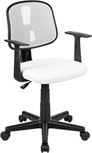 Flash Fundamentals Mid-Back White Mesh Swivel Task Office Chair with Pivot Back and Arms