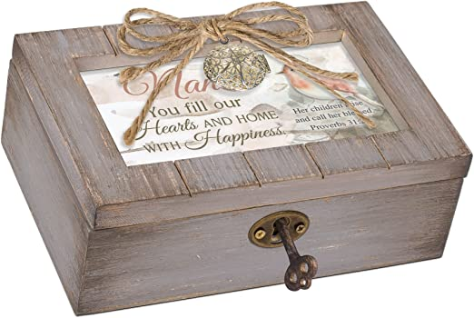 Cottage Garden Dwell in The House of The Lord Grey Distressed Locket Music Box Plays Amazing Grace
