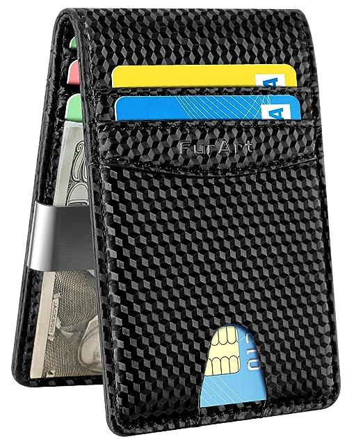 8dafe2283fef Slim Minimalist Bifold Wallet, RFID Blocking, FurArt Front Pocket Leather  Wallets, Credit Card Holder for Men Women