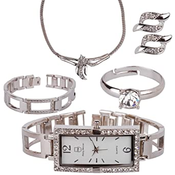 d94736231 Philip Mercier Ladies Bracelet Watch with Matching Jewellery a Matching Set:  Amazon.co.uk: Watches