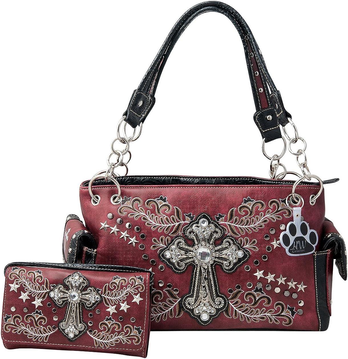 HW Collection Western Purse Rhinestone Cross Leaf Vine Concealed Carry Handbag and Wallet Set