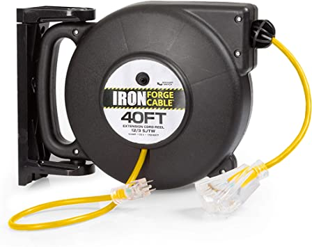 40 Ft Retractable Extension Cord Reel 2 In 1 Mountable