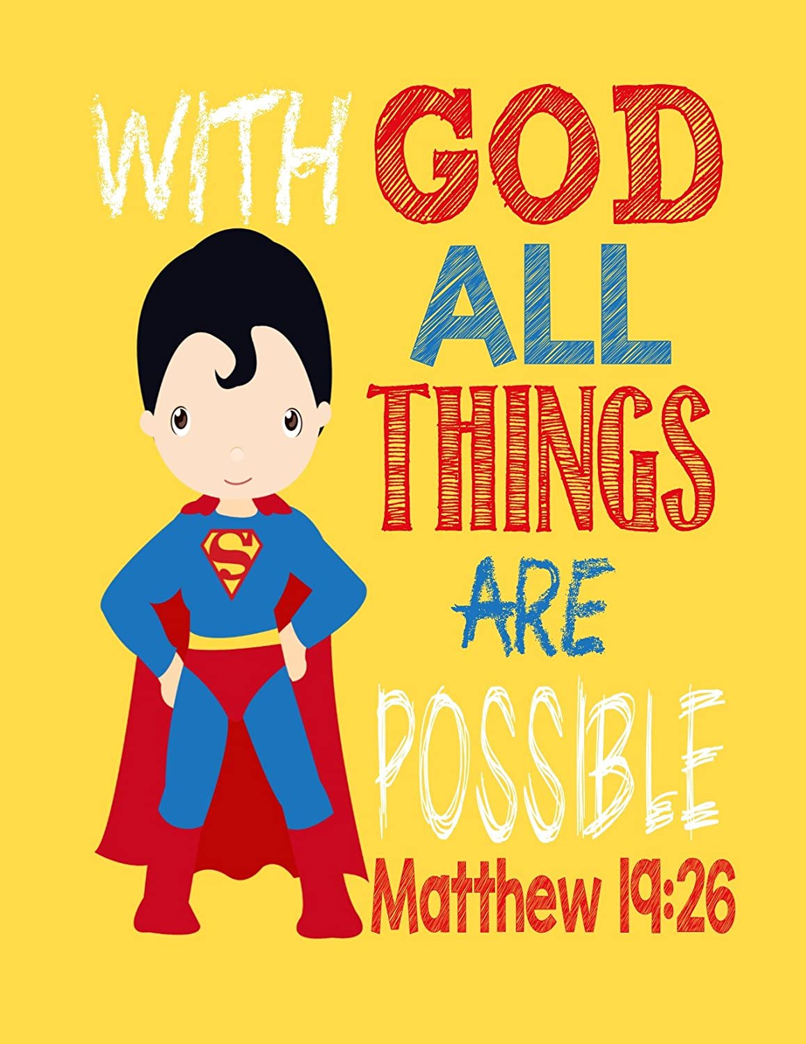 Amazon.com: Superman Christian Superhero Nursery Decor Wall Art ...