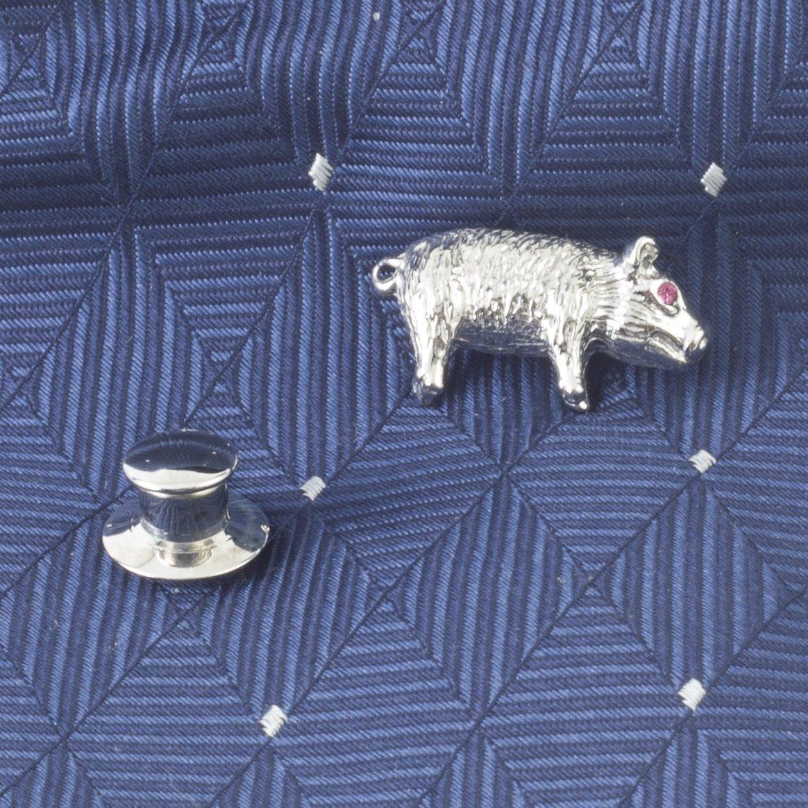 Tateossian Men's Rhodium Plated Red Swarovski Pig Tie Pin by Tateossian (Image #2)
