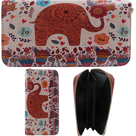 72c2c5da6d64b Alessa Animal Inspired Elephant Ladies Wallet Clutch Organizer Vegan ...