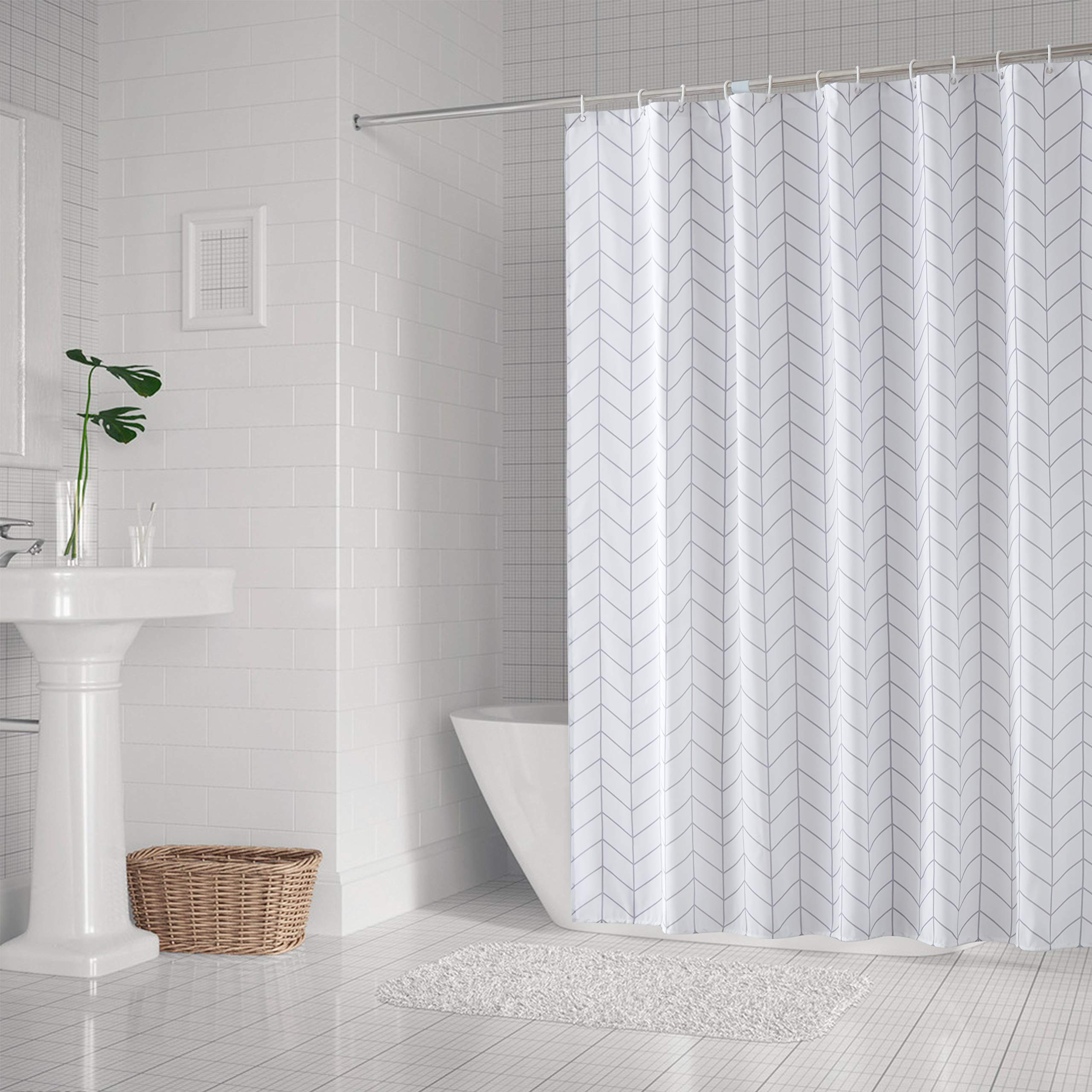 SHU UFANRO Shower Curtain Waterproof Fabric Polyester Bathroom Shower Curtain Liner with Hooks