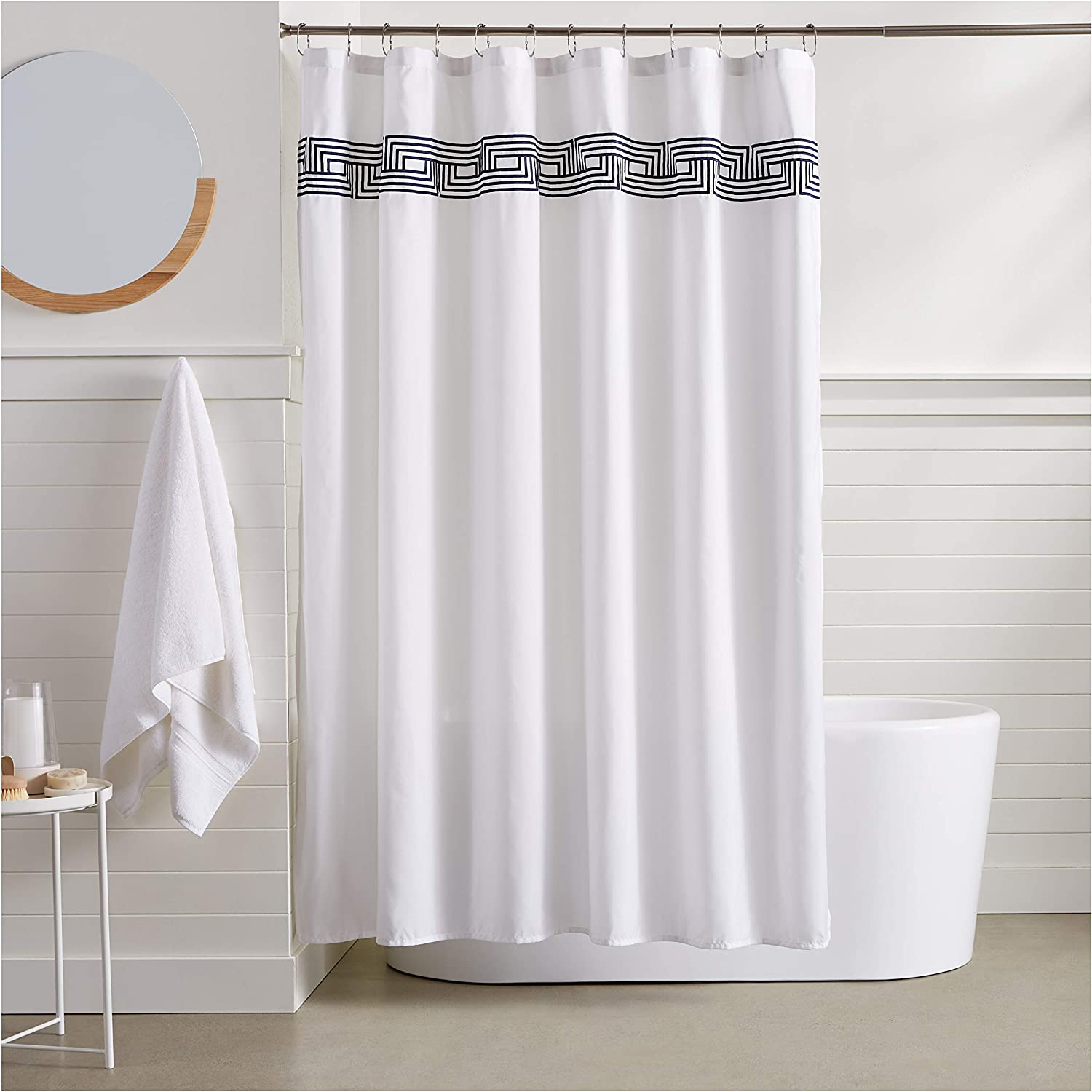 Basics Athena Embroidered Shower Curtain 72 Inch Navy