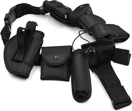 Múltiples Funciones Correa Táctica Cinturón con Bolsas de Equipo Kit Correa de Policía Guardia de Seguridad Al Aire Libre Formación Accesorios(Negro)