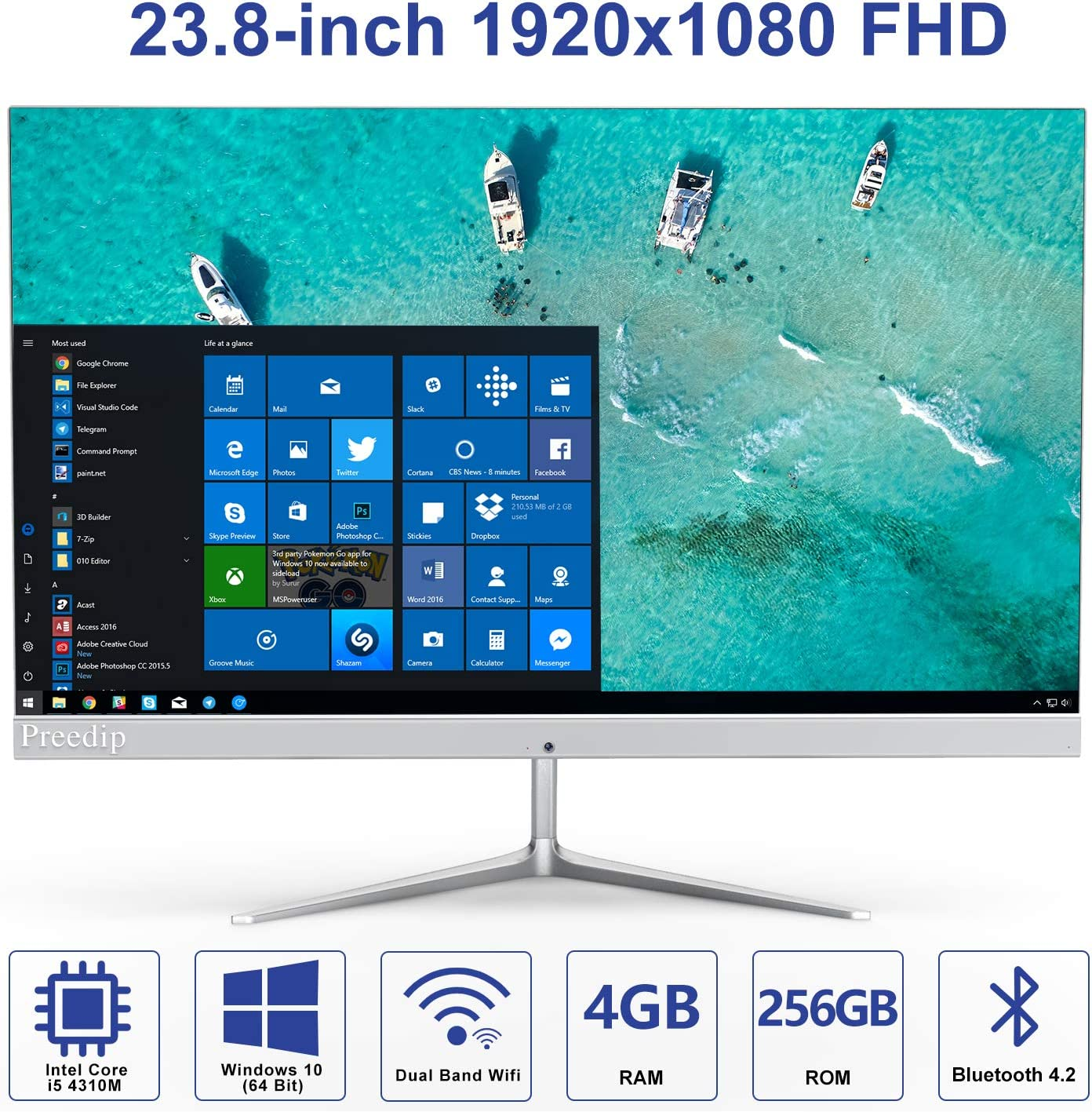 Preedip 23.8-inch 1920x1080 FHD All in One Desktop Computer with Intel Core i5-4310M(Up to 3.4GHz)& Windows 10,4GB DDR3 256GB ROM AIO PC Support 2.4G/5.0G Dual Band WiFi and Bluetooth 4.2