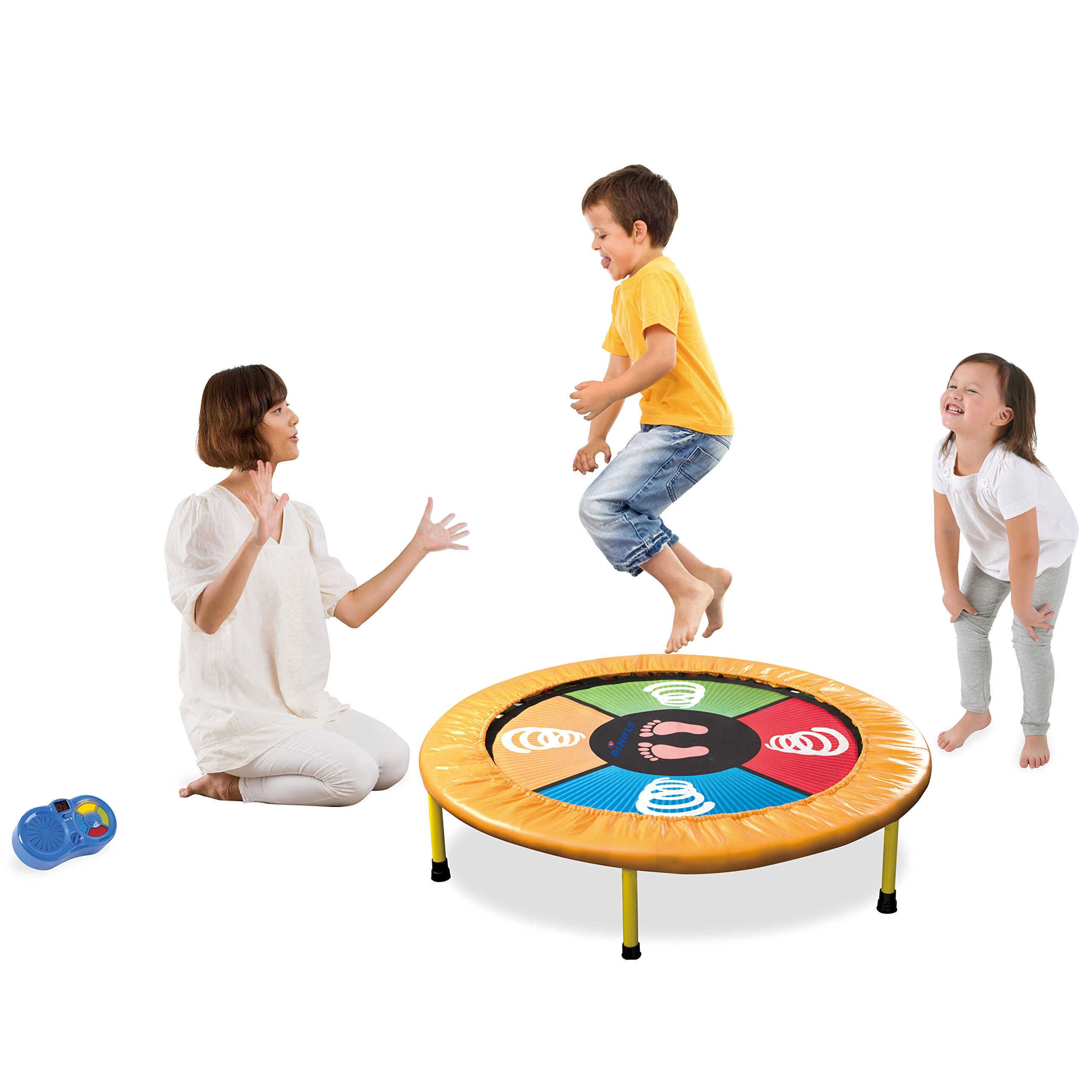 """Dimple """"Dance Jump & Play"""" Kid's Mini Electronic Trampoline, With Exciting Fun Touch Playmat, LED Scoreboard with lights & Sounds, Connects to Smartphone, Great Gift for Children"""