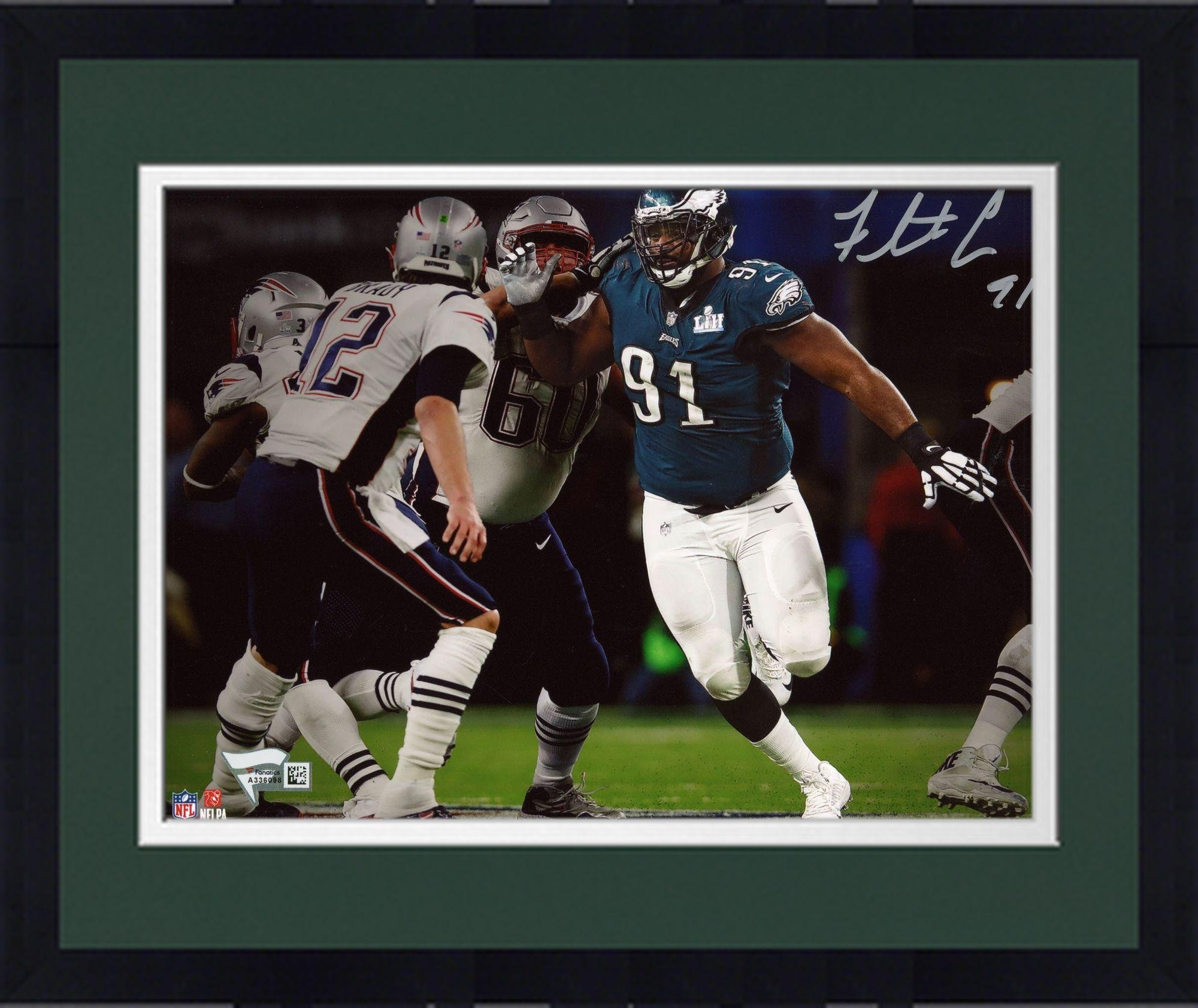 "Framed Fletcher Cox Philadelphia Eagles Autographed 8"" x 10"" Super Bowl LII Champions Photograph Fanatics Authentic Certified"